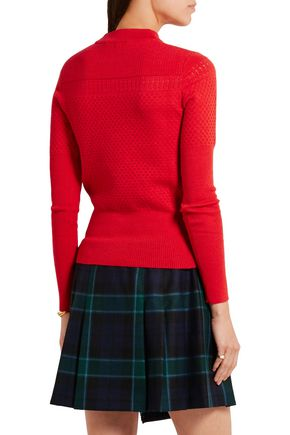 CARVEN Pointelle-knit wool-blend sweater