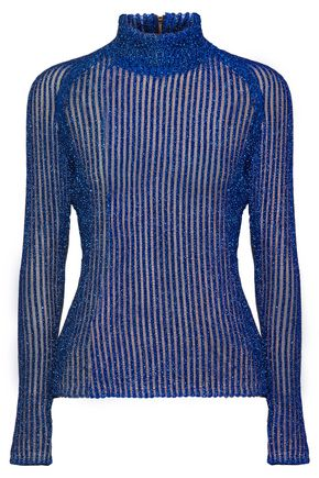 CARVEN Metallic ribbed-knit lamé turtleneck sweater