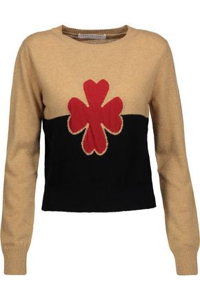 PHILOSOPHY di LORENZO SERAFINI Cropped embroidered wool and cashmere-blend sweater