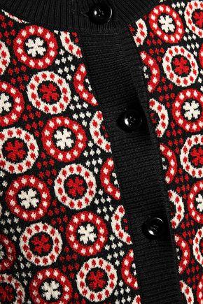 PHILOSOPHY di LORENZO SERAFINI Ribbed-trimmed intarsia-knit wool cardigan