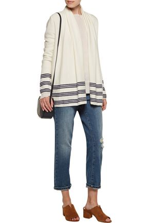 JOIE Margaux draped stripe-trimmed wool and cashmere-blend cardigan