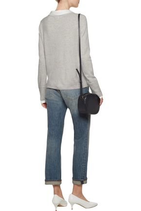 JOIE Pavla twill-trimmed wool and cashmere-blend sweater