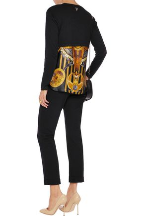 VERSACE JEANS Layered cotton-jersey and printed silk top