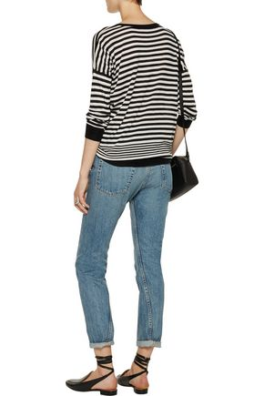 VINCE. Striped cotton, silk and cashmere-blend sweater