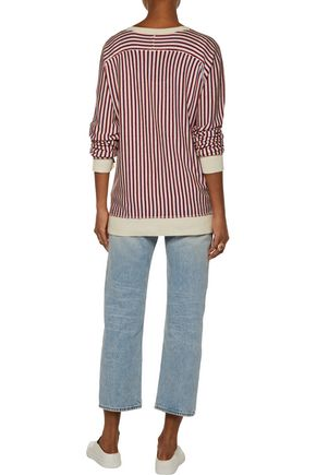 RAQUEL ALLEGRA Striped wool and cashmere-blend cardigan