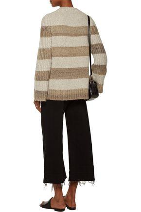 RAQUEL ALLEGRA Striped bouclé-knit sweater