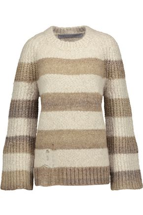 RAQUEL ALLEGRA Striped bouclé-knit sweater