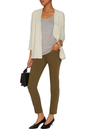 MAJESTIC Suede and stretch-jersey cardigan