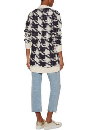 SANDRO Christy houndstooth knitted cardigan