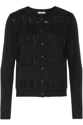 JOIE Fabiana cotton-blend lace-trimmed knitted cardigan