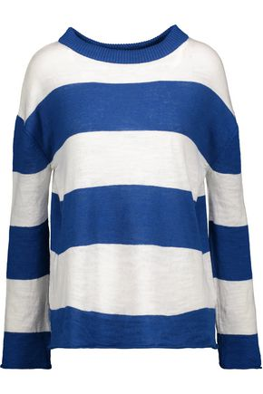 M.I.H JEANS Linus striped slub cotton and linen-blend sweater