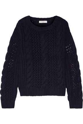 SANDRO Lara cable and open-knit wool-blend sweater