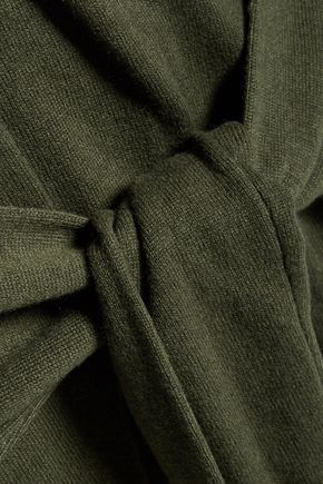 SANDRO Sofy tie-front wool and cashmere-blend sweater