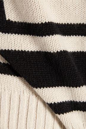 DEREK LAM 10 CROSBY Asymmetric striped wool sweater