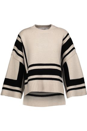 DEREK LAM 10 CROSBY Asymmetric striped wool sweater