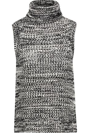 DEREK LAM 10 CROSBY Asymmetric open-knit cotton turtleneck sweater