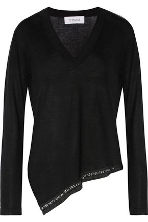 10 CROSBY DEREK LAM Asymmetric embellished silk and cashmere-blend sweater