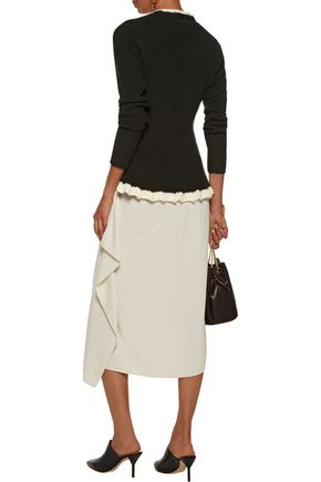 10 CROSBY DEREK LAM Lace-up ruffled cotton and cashmere-blend peplum sweater