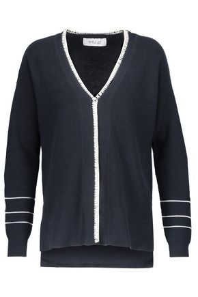 DEREK LAM 10 CROSBY Crochet-trimmed cotton and cashmere-blend sweater