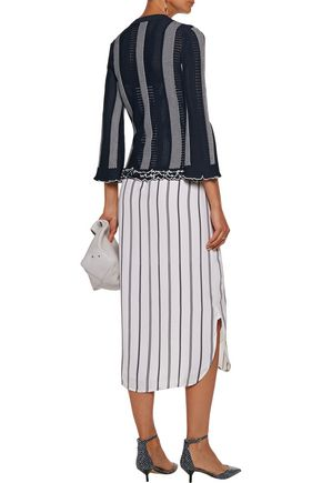 DEREK LAM 10 CROSBY Ruffled paneled crochet and pointelle-knit sweater