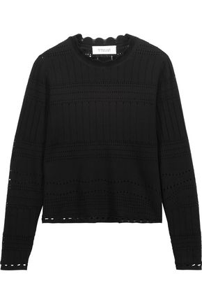 DEREK LAM 10 CROSBY Open knit-trimmed cotton-jersey sweater