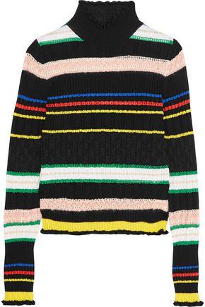 LOVE MOSCHINO Striped wool-blend turtleneck sweater
