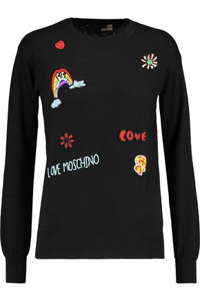 LOVE MOSCHINO Bead-embellished silk-blend sweater