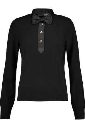 LOVE MOSCHINO Satin-trimmed wool top