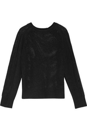RAQUEL ALLEGRA Distressed open-knit merino wool and cashmere-blend sweater