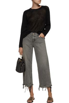 RAQUEL ALLEGRA Distressed open-knit merino wool and cashmere-blend sweater