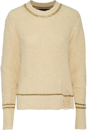RAQUEL ALLEGRA Metallic open knit-trimmed distressed cotton sweater