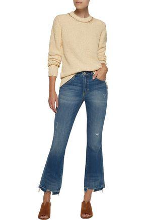 RAQUEL ALLEGRA Metallic open knit-trimmed distressed cotton sweater