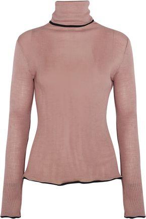 KÉJI Ruffled ribbed wool and silk-blend turtleneck sweater