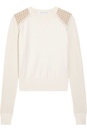 DIANE VON FURSTENBERG Raleigh lace and silk-blend sweater
