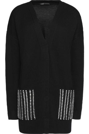 MAJE Studded wool cardigan