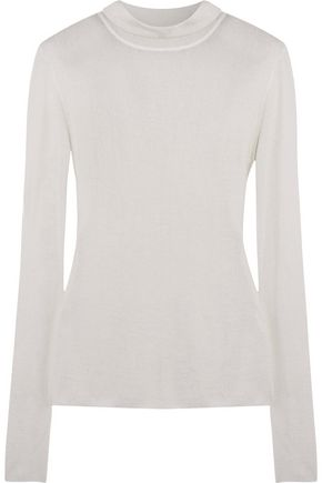 DION LEE Merino wool-blend knitted turtleneck top