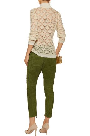 BALMAIN Metallic open-knit mohair-blend turtleneck sweater