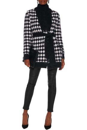 BALMAIN Two-tone intarsia-knit angora-blend cardigan