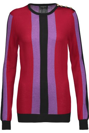 BALMAIN Striped silk and cashmere-blend sweater