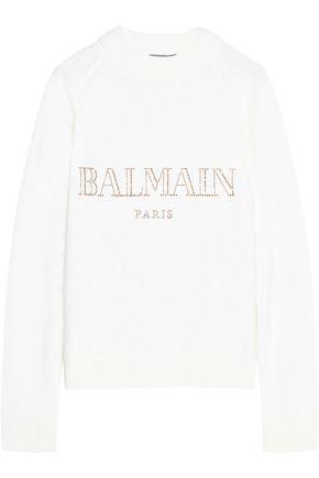BALMAIN Embellished angora-blend sweater