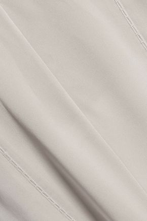 VINCE. Open knit-trimmed silk-blend crepe de chine top