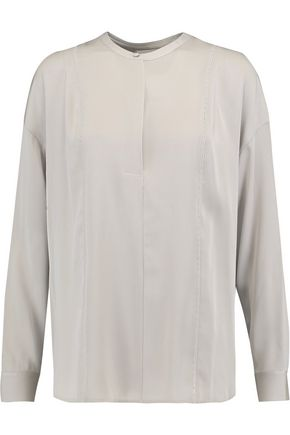 VINCE. Open knit-trimmed silk-blend crepe de chine top