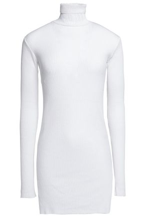 HELMUT LANG Ribbed cotton and angora-blend turtleneck sweater