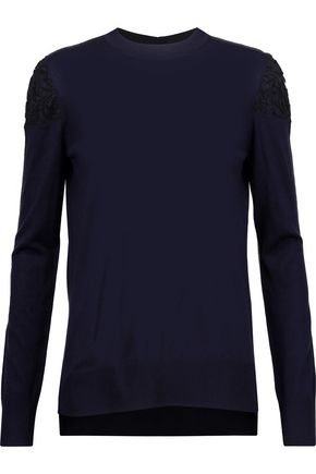 ADAM LIPPES Corded lace-paneled wool sweater