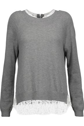JOIE Zaan lace-paneled jersey sweater