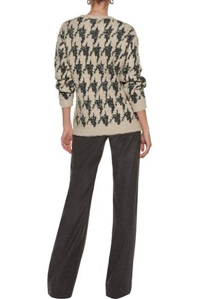 BRUNELLO CUCINELLI Embellished houndstooth cashmere-blend and cashmere and silk-blend sweater