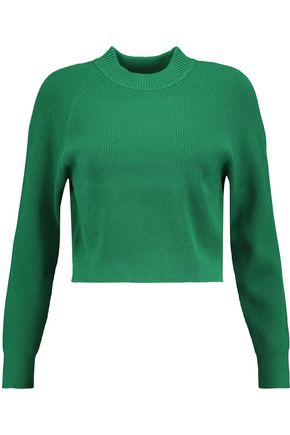 DKNY Cropped ribbed-knit sweater