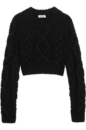 DKNY Cropped cutout cable-knit merino wool sweater
