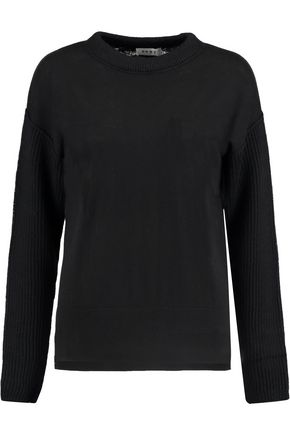DKNY Ribbed wool-paneled knitted sweater