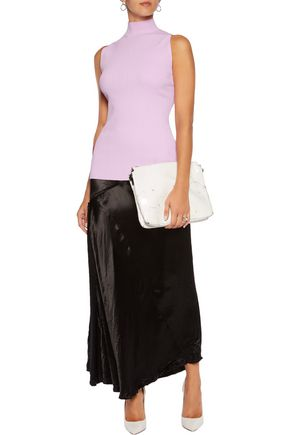 PROENZA SCHOULER Lace-up ribbed-knit turtleneck top